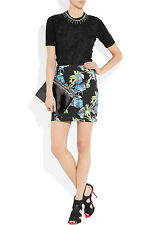 NWT Elizabeth and James Black Scuba Floral-print Neoprene Mini Skirt $325 Sz L.