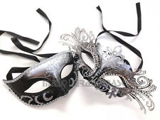 Princess White Gold Masquerade Ball Mask Pair Costume Dance Prom Birthday Party