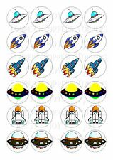 24 SPACE SHIPS/ROCKETS  WAFER RICE EDIBLE FAIRY/CUP CAKE BUN TOPPERS