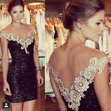 Sexy Sequin  Dress Women Fashion Lace clothing V-Neck  Backless Party Dress