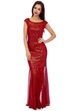 RED VELOUR SEQUIN EMBELLISHED MAXI FORMAL PROM EVENING PARTY DRESS 8-16(WAS £69)