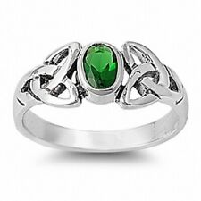 Celtic Twisted Knot Wedding Engagement Ring Solid Sterling Silver 0.75CT Emerald