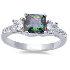 3 Stone Wedding Engagement Ring 925 Sterling Silver 2.50 Ct Topaz Round Clear CZ