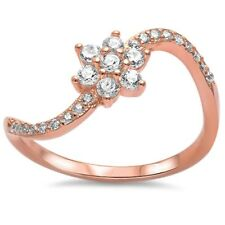 Engagement Wedding Ring Curvy Ring Dainty Rose Gold Cluster 925 Sterling Silver