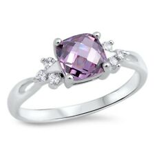 1ct Solitaire Wedding Engagement Ring Amethyst CZ White CZ Solid Sterling Silver