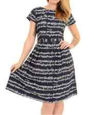 WOMENS RUN&FLYRetro Vintage 50's style tea dress in navy with musical note print
