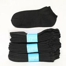 4 12 Pairs Kid's Cotton Socks No Show Low Cut Ankle Solid Black Heavy Size 6-8