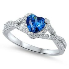 Wedding Engagement Heart Promise Ring 0.74CT Blue Sapphire CZ Sterling Silver
