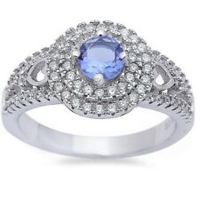 Solitaire Wedding Engagement Ring Sterling Silver 0.50CT Blue Tanzanite Clear CZ