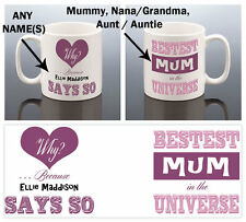 PERSONALISED BEST MUM STEPMUM NAN AUNT MUG Mothers Day Gift Birthday Present