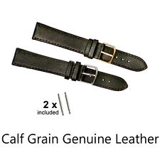 Calf Grain Leather Watch Strap With stainless steel buckles gents/ ladys