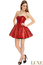 SHORT SEXY SLEEVELESS NETTED RED SEQUIN PROM BALL FORMAL EVENING PARTY DRES 8-14