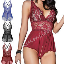 Hottess Women Sexy Lingerie Lace See-through Babydoll Open Crotch Pant Dress