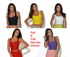 Herve Quality Womens Crop Top Sleeveless Celeb Bandage Boutique Bodycon Party
