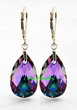 NEW! SWAROVSKI CRYSTAL Teardrop Earrings Purple Pink Combo 925 Sterling Silver