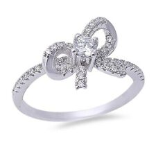 Trendy Cute Ribbon Bow Ring Solid 925 Sterling Silver 0.20Ct Russian CZ