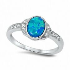 Dazzling Wedding Engagement Ring 925 Sterling Silver Blue Lab Opal Russian CZ
