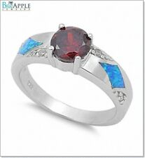 7mm Solitaire Wedding Engagement Ring 925 Sterling Silver Blue Opal Garnet CZ