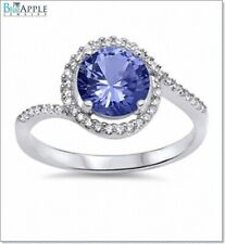 Halo Solitaire Wedding Engagement Ring 925 Sterling Silver Tanzanite Clear CZ