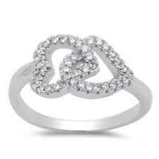 Love Heart Promise Ring Solid 925 Sterling Silver Russian CZ Valentines Gift
