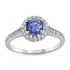 Halo Dazzling Wedding Engagement Ring Sterling Silver 2Ct Tanzanite Russian CZ