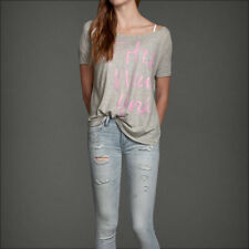 NWT Abercrombie A&F Graphic Easy Fit Tee Top T-shirt XS S Gray NEW