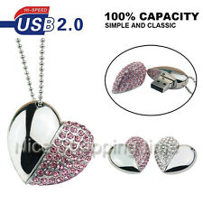 64GB Crystal Heart Jewelry Necklace USB 2.0 Memory Stick Flash pen Drive U Disk