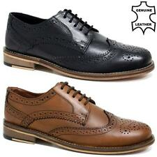 NEW MENS REAL LEATHER CASUAL FORMAL BROGUE OXFORD OFFICE WING TIP WEDDING SHOES