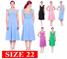 WOMENS CASUAL VINTAGE RETRO FIT FLARED SWING MIDI TEA DRESSES SIZE 22 3XL