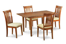 5 Piece small kitchen table set Table with Leaf and 4 dining room chairs