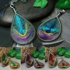 New Boho Lady Peacock Tail Wire Thread Earring Dangle Hook Ear Stud Earrings Hot