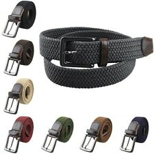 Unisex Leather Braided Web Elastic Stretch Pin Buckle Casual Golf Belt Waistband