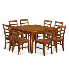 9 Piece Dining Room Set Square dining table with Leaf and 8 dining chairs