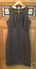 Next Size 10 Checked Tweed Ruched Sleeveless Dress Office Grey