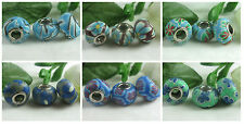 5pc Beautiful Blues & Greens Polymer Clay Bead for European Big Hole Jewelry USA