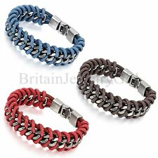 8.3 Inches Men Women Blue Red Brown Leather Braided Alloy Clasp Bangle Bracelet
