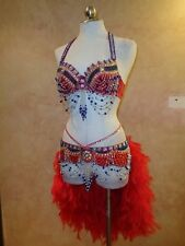 Pink Eyes Wide Shut Sexy Showgirl Sequin Feather Fancy Carnival Dress 2PC