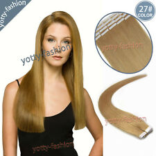 Tape In Remy Real Human Hair Extensions Seamless Skin Weft Dark Blonde 16''-24''