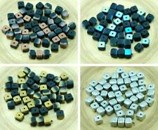 24pcs Matte Czech Glass Cube Beads Spacer 5mm x 7mm