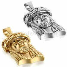 Mens Jesus Piece Charm Pendant Silver Gold Tone Stainless Steel Chain Necklace