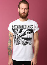 SUBHUMANS T-SHIRT WHITE RELIGIOUS WARS ART VTG PUNK HARDCORE