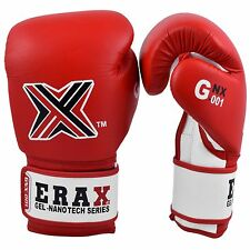 ERAX Real Leather Gel Nano Tech Training MMA Boxing Gloves with Free Hand Wraps