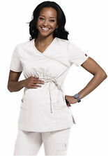 Dickies Maternity Scrubs White Gen Flex Mock Wrap Top Sz XS-XXL NWT