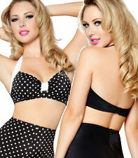 D CUP Pin Up Style Halter Bikini Top D3090 TIE BACK STRAP in Multiple Colors!