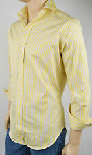 Polo Ralph Lauren YELLOW BLUE STRIPE REGENT SPREAD COLLAR DRESS SHIRT NWT