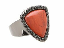 New House of Harlow 1960 Nicole Richie Red Jaspers Black Diamond Pave Band Ring