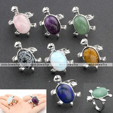 Fashion Silver Plated Turtle Tortoise Gemstone Band Finger Rings Adjustable US-7