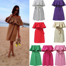 Women Summer Boho Beach Dress Casual Sexy Off Shoulder Ruffle Short Mini Dress