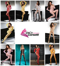 LIVCO CORSETTI Abra Luxury Super Soft Long Sleeved Crotchless Bodystocking