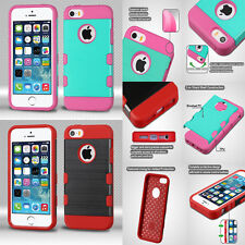 Tough Dual Layer Hybrid Bumper Cover Protector Phone Case Apple iPhone 5/5S SE
